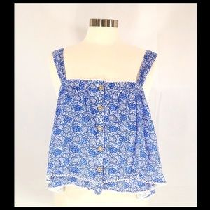 Free People NWT blue/white floral crop top!